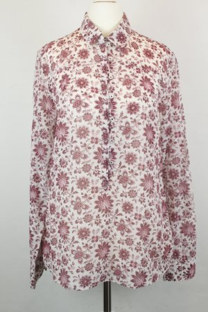 Massimo Dutti Bluse Schlupfbluse Gr. 42 weiß rot Blumen boho
