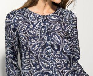 Massimo Dutti Zijden blouse staalblauw Zijde