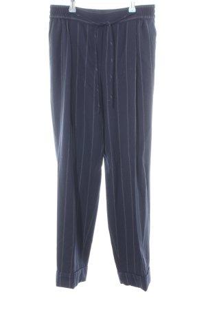 Massimo Dutti Bundfaltenhose blau-weiß Streifenmuster Business-Look