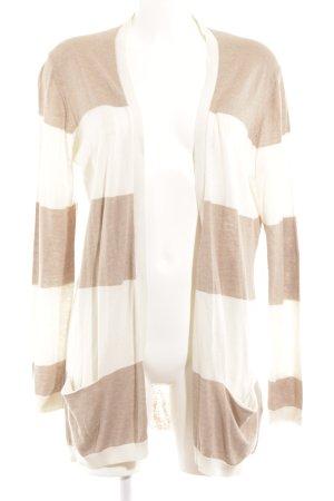 Massimo Dutti Cardigan weiß-beige Streifenmuster schlichter Stil