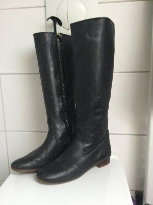 Massimo Dutti Damen Stiefel Leder komplett antrazit 39