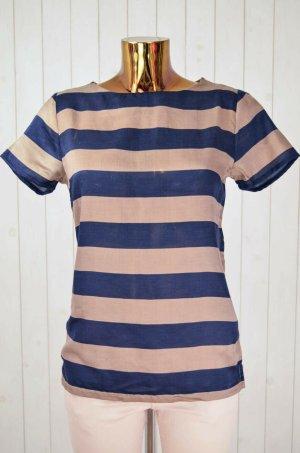 MASSIMO DUTTI Damen T-Shirt Bluse Satin Blockstreife Gestreift Blau Braun Gr.M