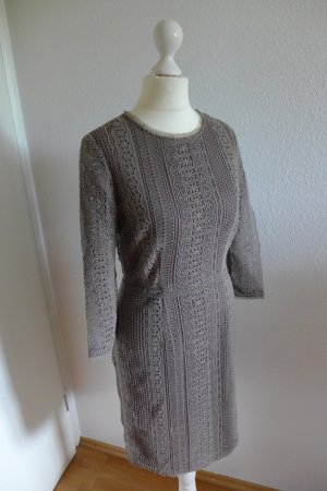 Massimo Dutti Etui Bleistift Kleid Häkel Spitze grau braun Gr. 36 neu