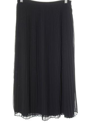 Massimo Dutti Faltenrock schwarz Elegant