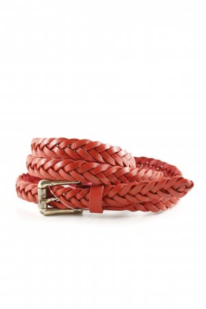 Massimo Dutti Braided Belt red cable stitch casual look