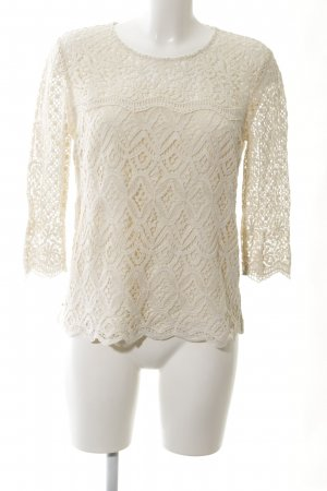 Massimo Dutti Crochet Shirt cream casual look