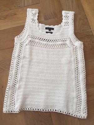 Massimo Dutti Crochet Top natural white