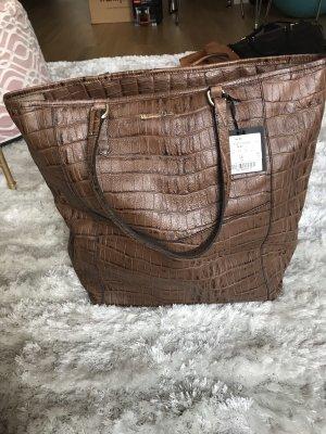 Massimo Dutti Shopper grey brown-brown leather
