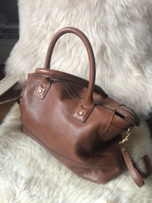 Massimo Dutti Bowling Bag grey brown-light brown leather