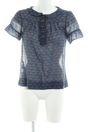 Massimo Dutti Hemd-Bluse dunkelblau-rot Allover-Druck 60ies-Stil
