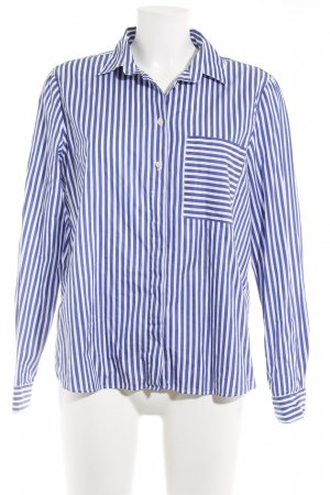 Massimo Dutti Hemd-Bluse dunkelblau-weiß Streifenmuster Business-Look