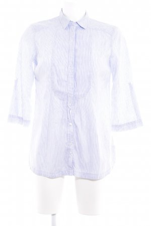 Massimo Dutti Hemd-Bluse weiß-himmelblau Streifenmuster Business-Look
