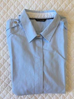 Massimo Dutti Chemise à manches longues bleu azur coton