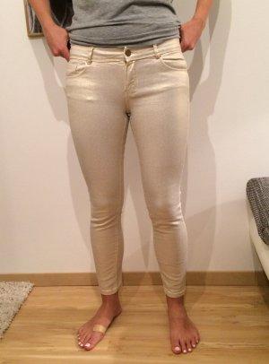 Massimo Dutti Jeans Damen Damenjeans gold glänzend 7/8