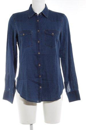 Massimo Dutti Blouse en jean bleu foncé style décontracté
