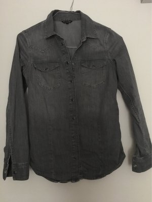 Massimo Dutti Chemise en jean gris anthracite