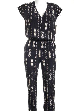 Massimo Dutti Jumpsuit schwarz-creme abstraktes Muster Street-Fashion-Look