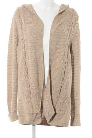 Massimo Dutti Kapuzenjacke beige Zopfmuster Casual-Look
