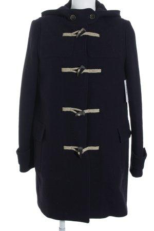 Massimo Dutti Manteau à capuche bleu foncé-crème style décontracté