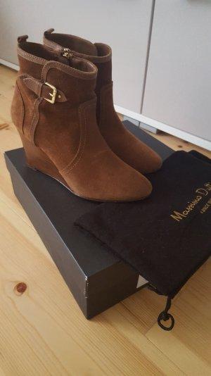Massimo Dutti Keil-Stiefeletten aus cognac farbenem Wildleder