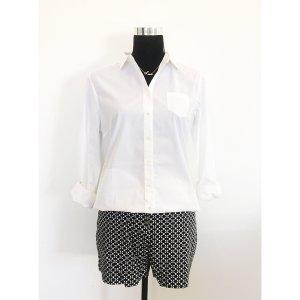 Massimo Dutti klassische Bluse Business 40 42 weiß langärmelig Kragen tailliert