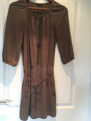 Massimo Dutti Kleid aus Seide, Gr. 36, Pailletten, Oliv