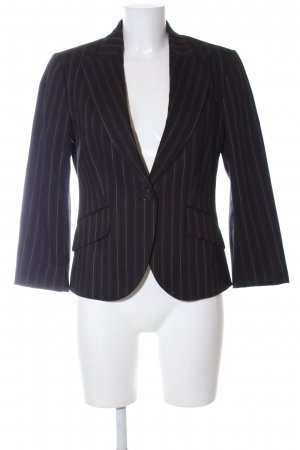 Massimo Dutti Kurz-Blazer schwarz-wollweiß Streifenmuster Business-Look