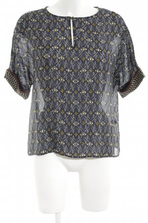 Massimo Dutti Kurzarm-Bluse abstraktes Muster Casual-Look