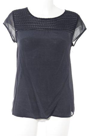 Massimo Dutti Kurzarm-Bluse dunkelblau Elegant