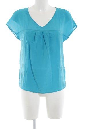 Massimo Dutti Kurzarm-Bluse blau Casual-Look