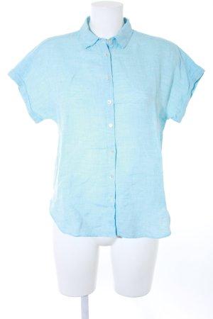 Massimo Dutti Chemise à manches courtes bleu clair-blanc moucheté