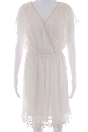 Massimo Dutti Kurzarmkleid hellbeige Romantik-Look