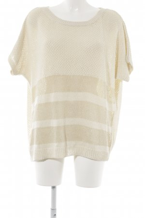 Massimo Dutti Short Sleeve Sweater oatmeal-beige horizontal stripes casual look