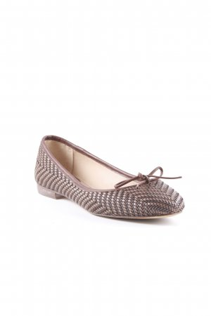 Massimo Dutti Patent Leather Ballerinas brown-cognac-coloured wooden look