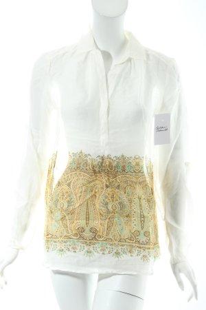 Massimo Dutti Langarm-Bluse abstraktes Muster klassischer Stil
