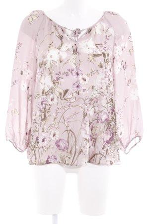 Massimo Dutti Langarm-Bluse blasslila florales Muster Elegant
