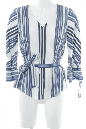 Massimo Dutti Langarm-Bluse blau-weiß Streifenmuster Casual-Look