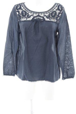 Massimo Dutti Langarm-Bluse dunkelblau schlichter Stil