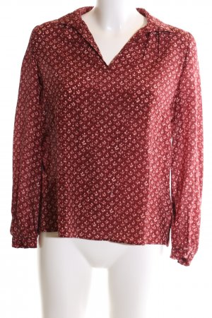 Massimo Dutti Langarm-Bluse rot-wollweiß Allover-Druck Business-Look