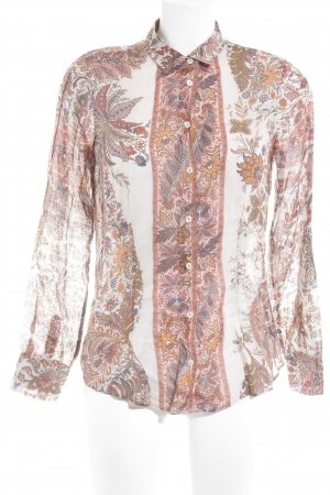 Massimo Dutti Langarm-Bluse florales Muster Hippie-Look