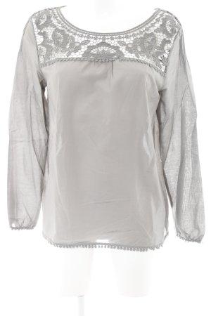 Massimo Dutti Langarm-Bluse grau schlichter Stil
