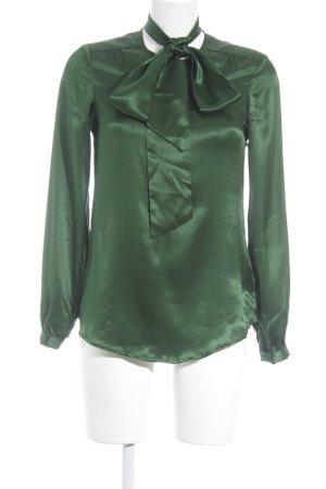 Massimo Dutti Langarm-Bluse waldgrün Zierknoten