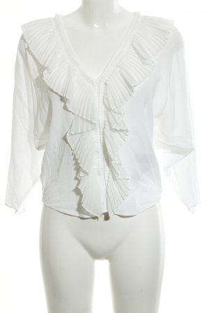Massimo Dutti Langarm-Bluse weiß Elegant