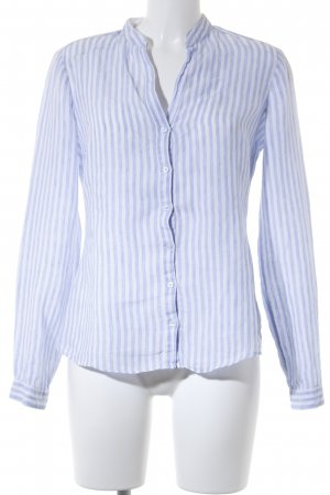 Massimo Dutti Langarm-Bluse weiß-himmelblau Streifenmuster Casual-Look