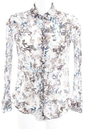 Massimo Dutti Langarm-Bluse weiß-schwarz florales Muster schlichter Stil