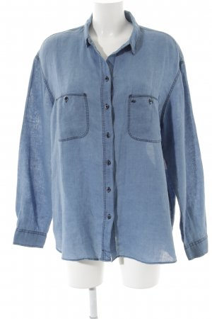 Massimo Dutti Shirt met lange mouwen staalblauw casual uitstraling
