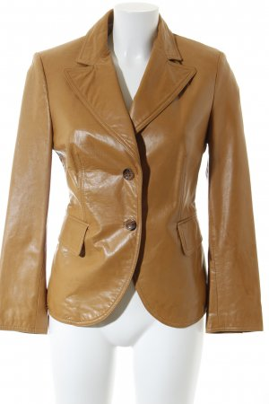 Massimo Dutti Leather Blazer camel business style