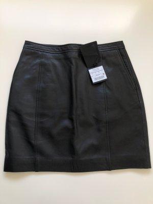 Massimo Dutti Leren rok zwart Leer