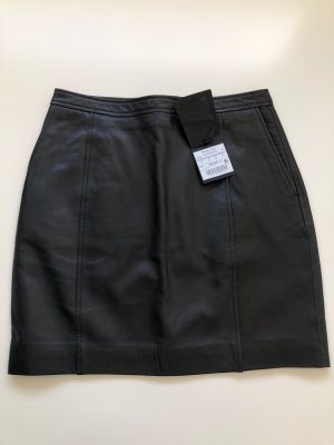 Massimo Dutti Falda de cuero negro Cuero