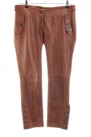 Massimo Dutti Leather Trousers brown casual look